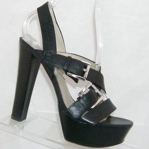 Michael Kors black leather slingback heels 7M